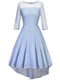Vintage High Low Lace Midi Party Dress - Azure Xl