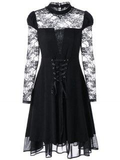 Schiere Lace Up Gothic Kleid - Schwarz 2xl