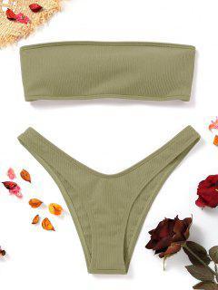 High Cut Ribbed Bandeau Bikini Set - Erbsengrün S