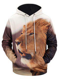 Lion 3D Print Kangaroo Pocket Hoodie - L