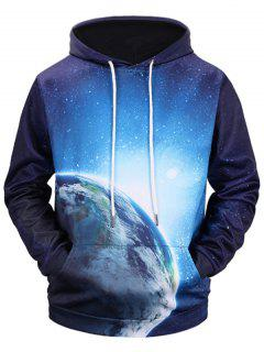 3D Earth Print Kangaroo Pocket Hoodie - Blue Xl