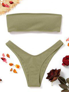 High Cut Ribbed Bandeau Bikini Set - Pea Green L