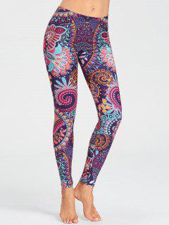Tribal Floral Printed Running Leggings - Floral S