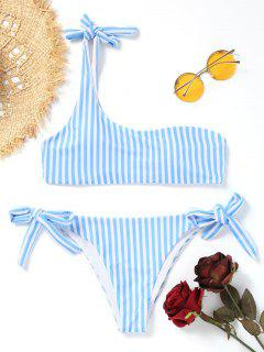 Striped One Shoulder String Bikini - Blue And White L
