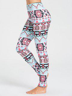 Tribal Pattern Gym Leggings - Multicolor S