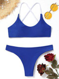 Plaited Cami Crisscross Bikini Set - Blue M