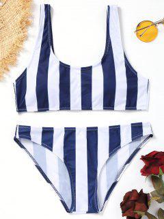 Ensemble Bikini Rayé à Encolure Dégagée - Bleu Et Blanc S