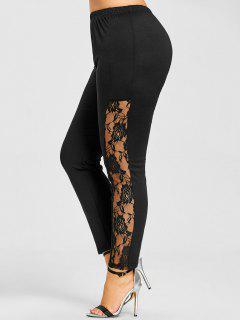 Plus Size Lace Insert Skinny Leggings - Black 2xl