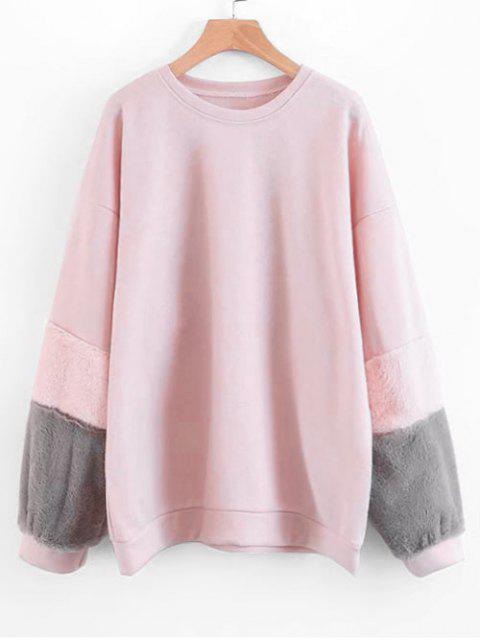 affordable Contrasting Textured Sleeve Sweatshirt - PINK S Mobile