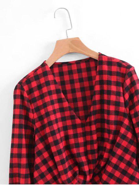 ladies Plaid Ruffles Draped Long Sleeve Dress - RED L Mobile