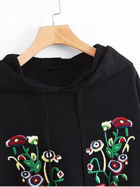 outfits Side Slit Oversized Floral Embroidered Hoodie - BLACK M Mobile