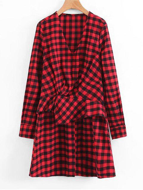 fashion Plaid Ruffles Draped Long Sleeve Dress - RED S Mobile