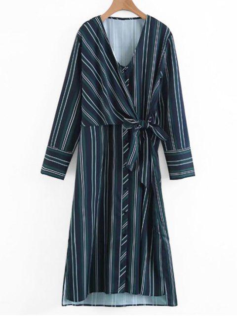 trendy Long Sleeve Wrap Stripes Casual Dress - STRIPE S Mobile