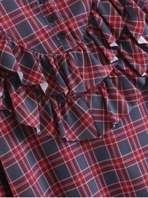 latest Buttoned Ruffles Plaid Blouse - CHECKED S Mobile