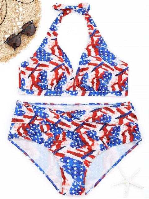 Bikini en Ensemble de Grande Taille Imprimé D'étoiles - Multicolore 3XL Mobile