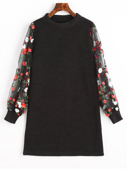 fancy Mesh Panel Floral Mini Knitted Dress - BLACK S Mobile
