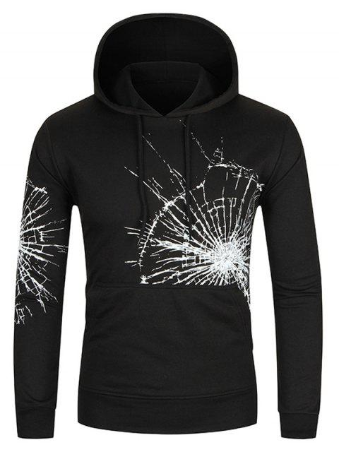 Sudadera con capucha de bolsillo de canguro con estampado de cristales de Crack - Negro L Mobile