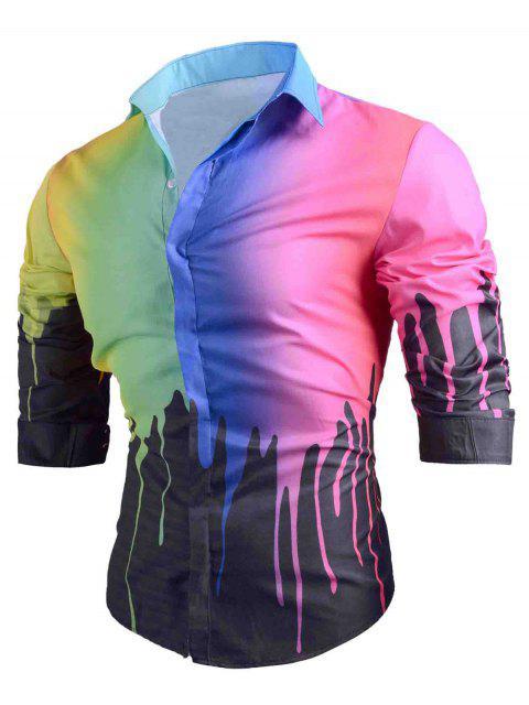 Camisa casual estampada con estampado de goteo de colores - Negro XL Mobile