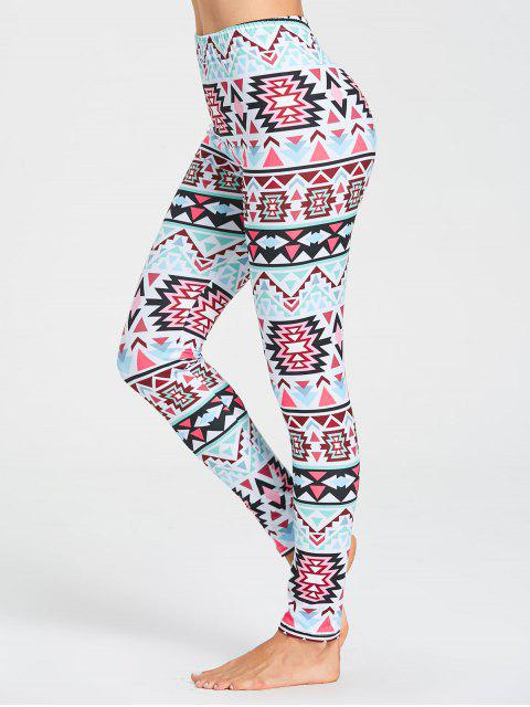 Leggings de gimnasio de patrón tribal - Multicolor S Mobile