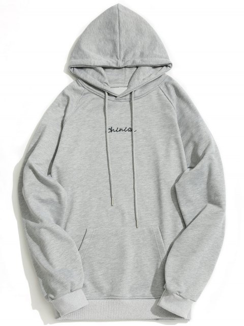 online Kangaroo Pocket Chinion Graphic Hoodie - GRAY M Mobile