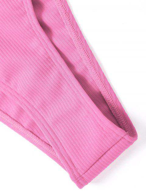affordable High Cut Ribbed Bandeau Bikini Set - PINK M Mobile