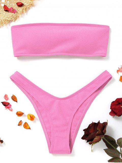 buy High Cut Ribbed Bandeau Bikini Set - PINK S Mobile