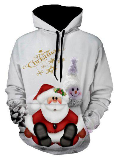 Snowman Print Pullover Christmas Hoodie - Gray Xl