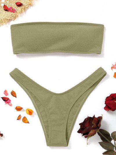 High Cut Ribbed Bandeau Bikini Set - Pea Green M