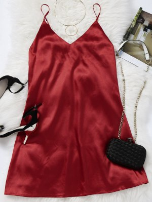 Cami Mini Summer Dress - Deep Red S