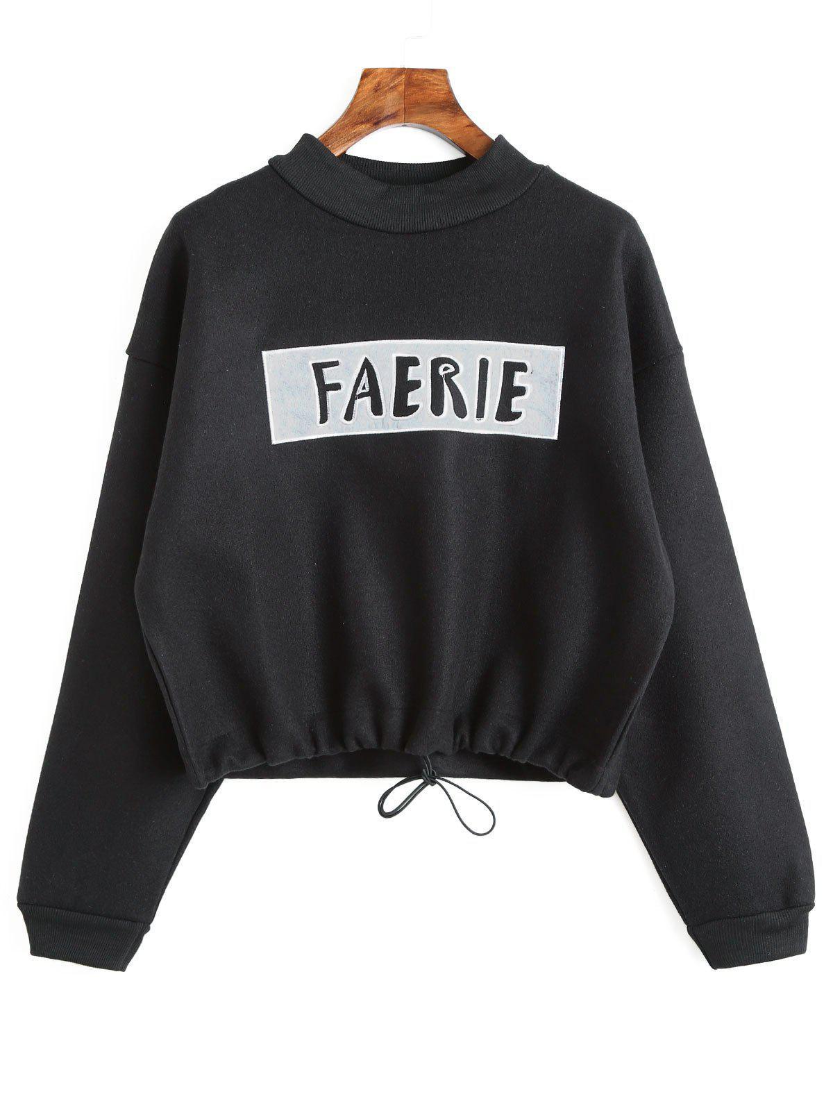 Image of Drawstring Hem Graphic Faerie Sweatshirt