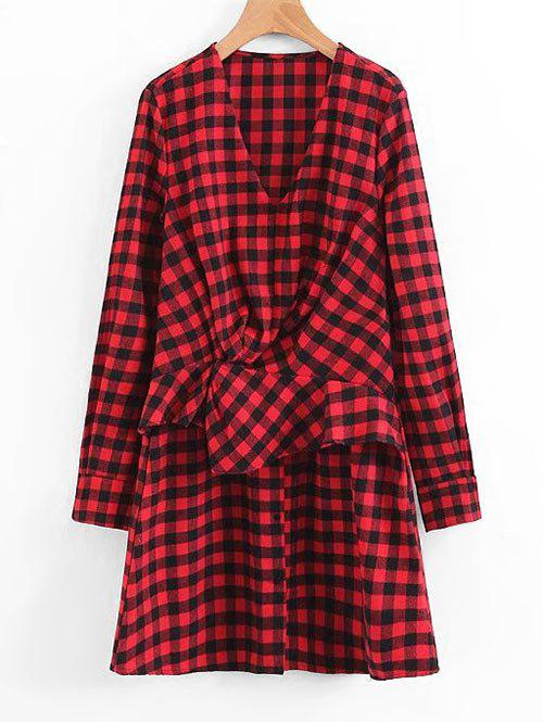 Plaid Ruffles Draped Long Sleeve Dress 238345301
