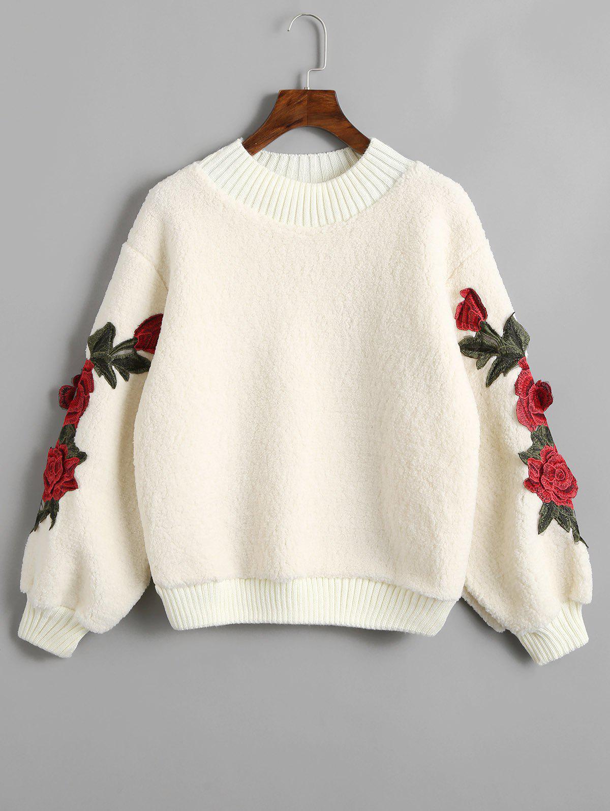 Floral Appliques Ribbed Hem Shearling Sweatshirt 237379901
