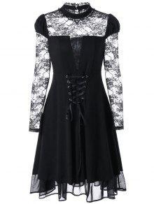 Robe Gothique à Lacets à Manches En Dentelle Transparente - Noir 2xl