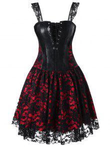 Vestido De Corsé De Encaje Cuadrado - Rojo 2xl