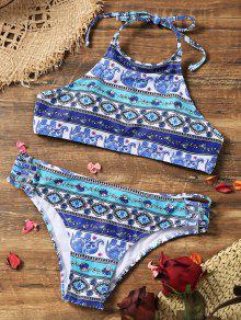 High Neck Retro-Print Gepolsterter Bikini - S