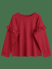 Rojo Cuello L Con Redondo Volantes zxnAqwOt7