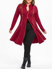 زائد حجم زمم لونغلين معطف - أحمر 5xl