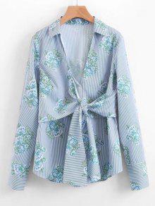 Chemise à Rayures à Motif Floral - Bleu Clair S