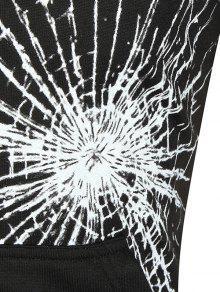 Negro Cristales Sudadera De Capucha De De Crack Canguro Bolsillo L De Con Con Estampado zTx7nzFpw