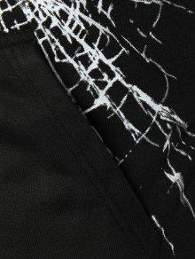 Con Cristales Con Crack Capucha De Negro Sudadera Canguro De Estampado De Bolsillo De L dz4fwxY