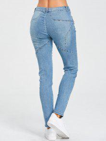 نجمة جينز خليط - أزرق L