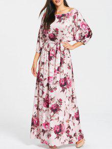 كم باتوينغ الأزهار طباعة فستان ماكسي - أحمر أرجوانى L
