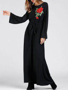 الزهور مطرز فستان ماكسي حزب - أسود L