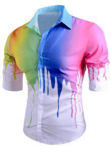 الملونة بالتنقيط الطلاء طباعة عارضة قميص - أبيض M