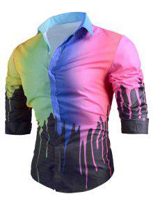 الملونة بالتنقيط الطلاء طباعة عارضة قميص - أسود M