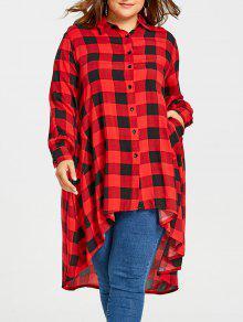 زائد حجم طويل طويل منخفض الترتان قميص - أحمر 2xl