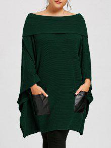 زائد حجم بو الجلود جيوب قبالة الكتف الأعلى - أخضر 5xl