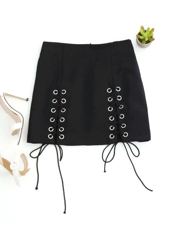 women Punk Lace Up Mini Skirt - BLACK L