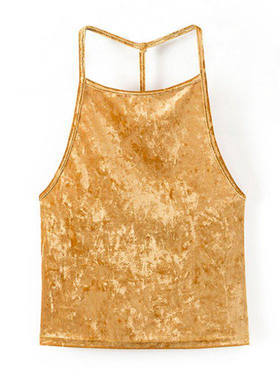 Top sin espalda de terciopelo abierto - Amarillo Oro S