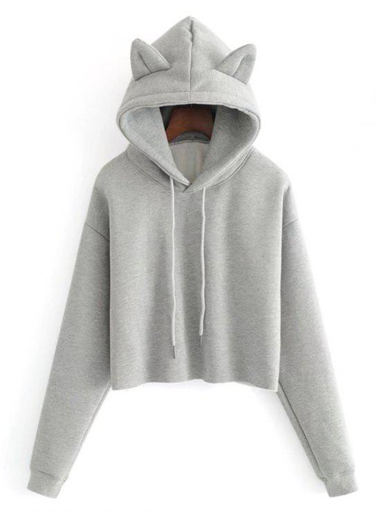 chic Plain Cat Cropped Hoodie - GRAY S